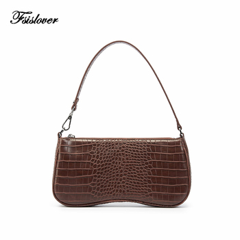 Vintage Alligator Baguette Shape Bag Luxury Leather Handbag 2020 New Fashion Shoulder Bag Womens Messenger Crossbody Bags luxury womens bag alligator pu patent leather banquet clutch bag lady handbag fashion chain shoulder crossbody bag handbag party