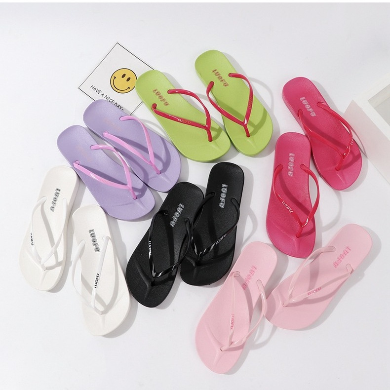 Summer Candy Color Casual Flip Flops  Girls Home Slip Beach Sand Flip Flops 6colors 2159 XQ01