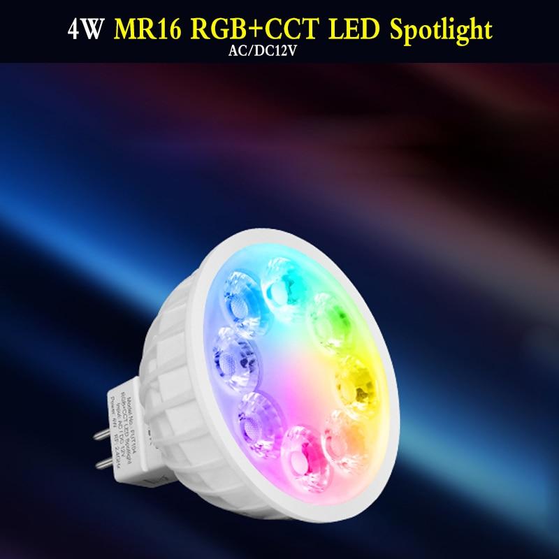 4W MR16 RVB + CCT LED Le Projecteur AC/DC12V ampoule LED intelligente LED Ampoule DINTÉRIEUR Éclairage À led Rond led Lumière peut APP/voix/2.4GHz télécommande 2700 ~ 6500K