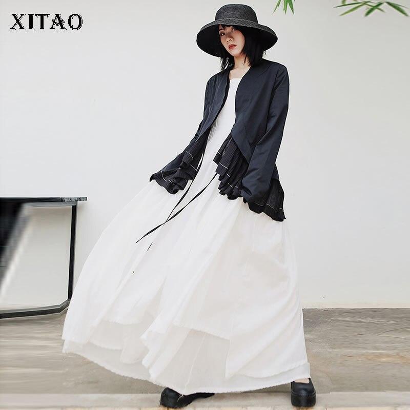 XITAO Drawstring Women Jacket Fashion New 2020 Spring Elegant Goddess Fan Ruffle Elegant Style Casual Loose Coat  ZLL4789