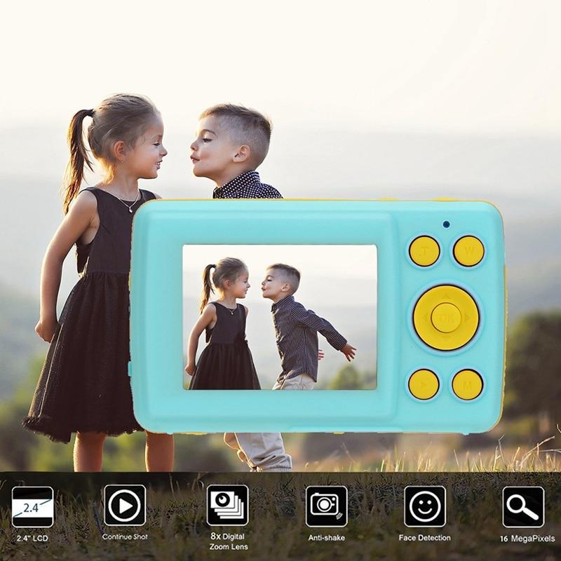 2.4HD Screen Digital Camera 16MP Anti-Shake Face Detection Camcorder Blank Point And Shoot Camera Digital Portable Cute Child(Bl