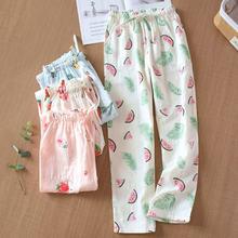 Хлопковые марлевые Пижамные брюки женские домашние для сна новые