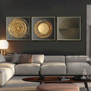 Абстрактный золотой черный белый современная квадратная текстура холст живопись постеры и принты домашний декор настенные художественные...