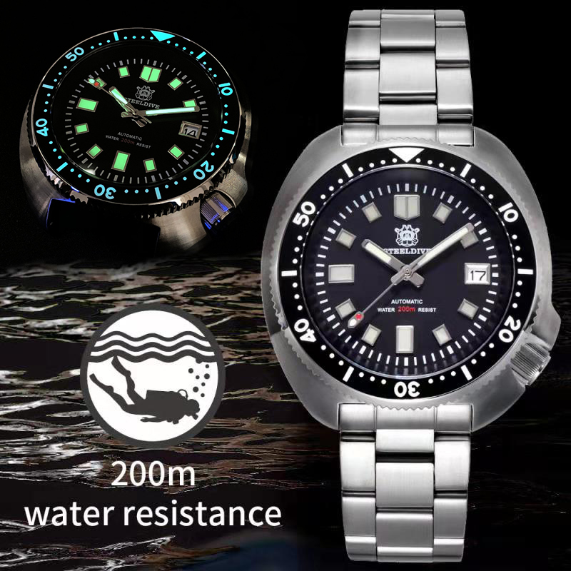 Waterproof Automatic Watch Men Sapphire Crystal Stainless Steel NH35 Automatic Mechanical Men's Watch 1970 Abalone Dive Watch
