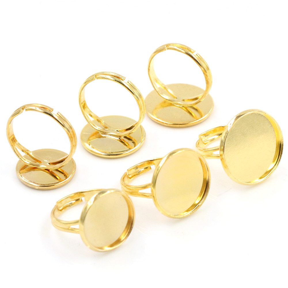14mm-16mm-18mm 10pcs Gold Color Brass Adjustable Ring Settings Blank/Base,Fit 14mm 16mm 18mm Glass Cabochons,Buttons