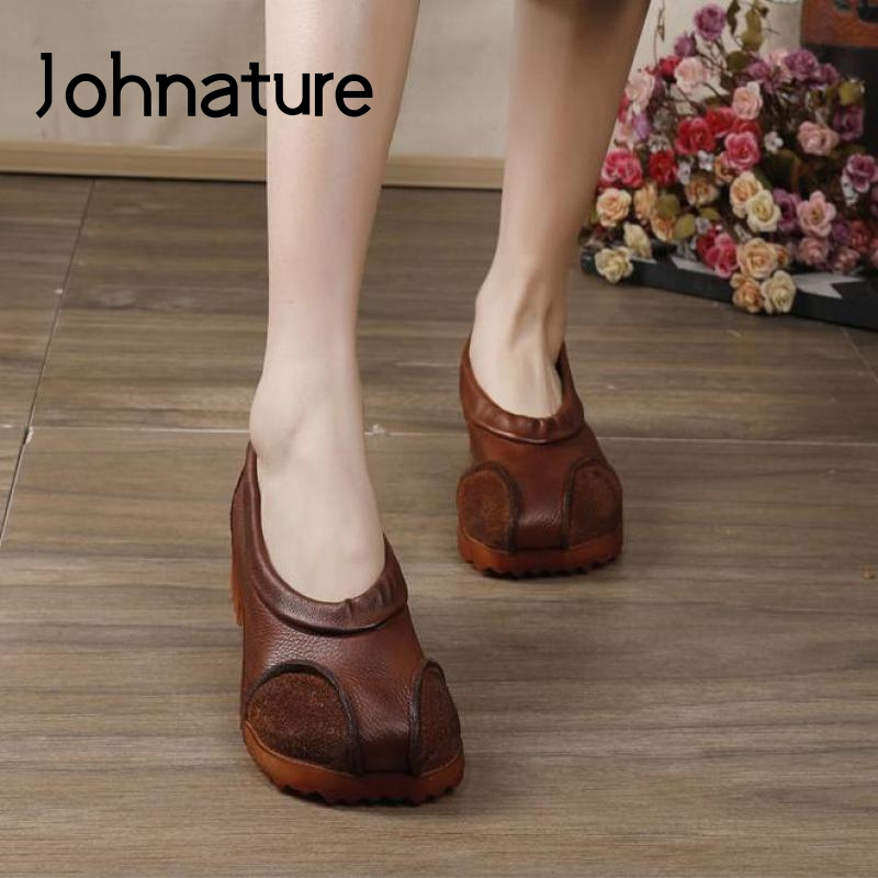 Johnature Pumps Women Shoes Retro Genuine Leather 2020 New Spring Casual Square Toe Shallow Slip-on Handmade Ladies Shoes