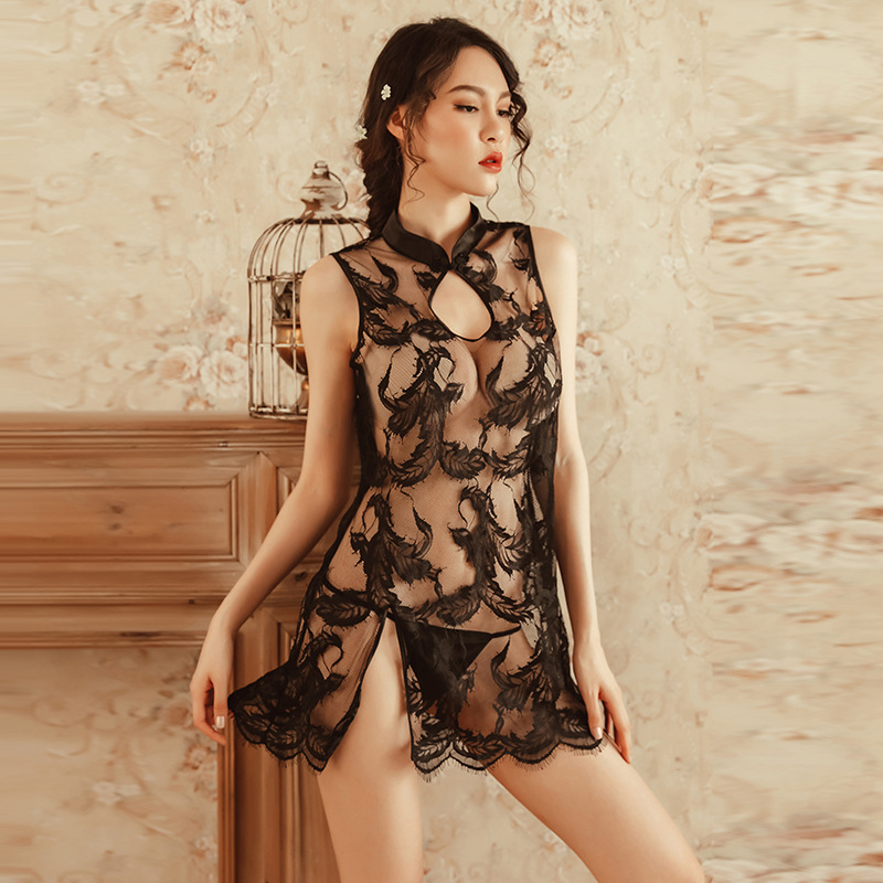 2019 cosplay sex erotic sexy lingerie women sexy costumes perspective lace cheongsam role play hollow out Sex Game Cosplay