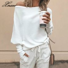 Xnxee Casual Loose Bat Sleeve Sweater Autumn Fashion Sweater Plain Shoulder Knitted Sweater Gray White Knit Pullover S-5XL lantern sleeve plain pullover sweater