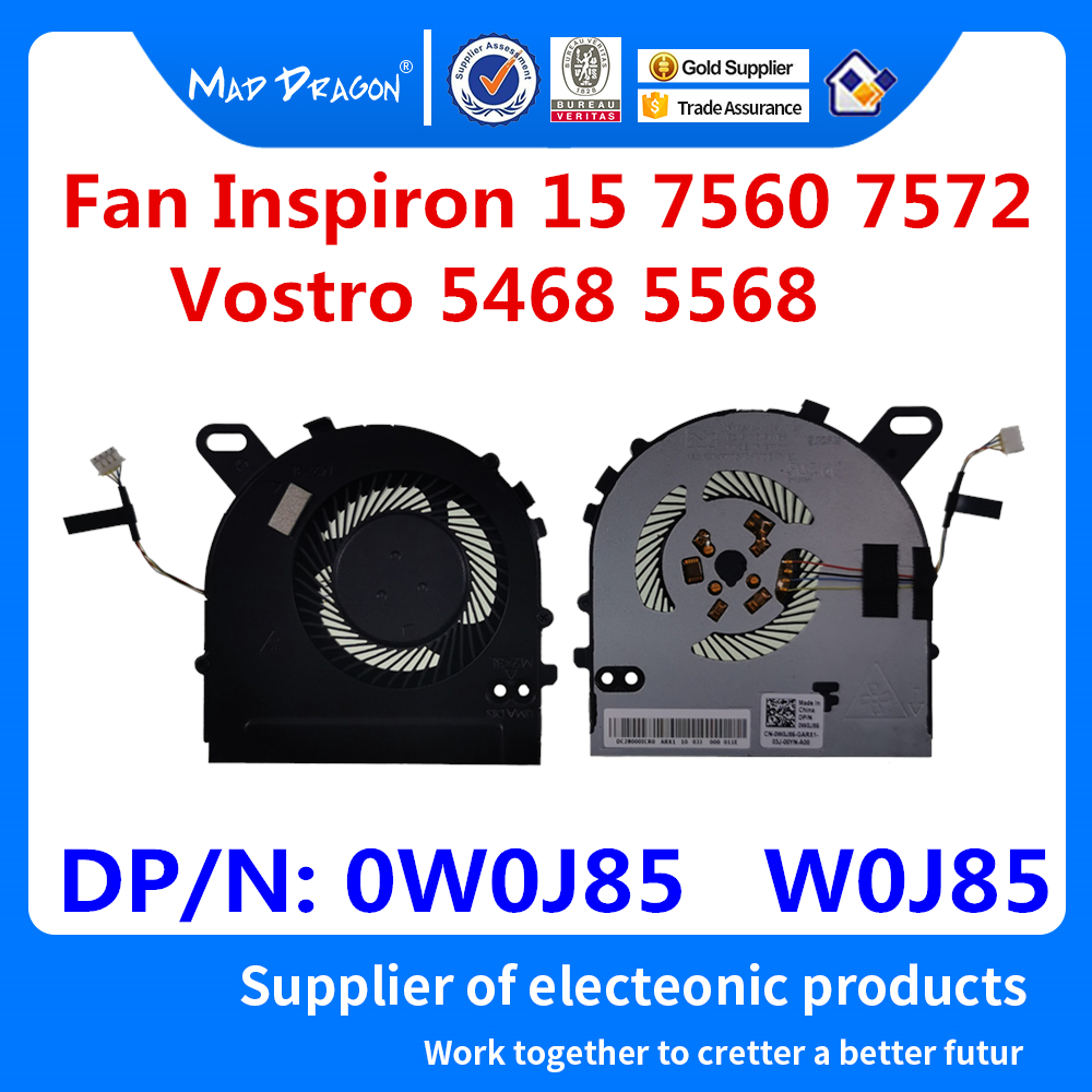 New Original CPU Cooling Fan Dell Inspiron 15 7560 7572 15-7560 Vostro 5468 5568 V5468 V5568 CPU Fan 0W0J85 W0J85 DC028000ICR0