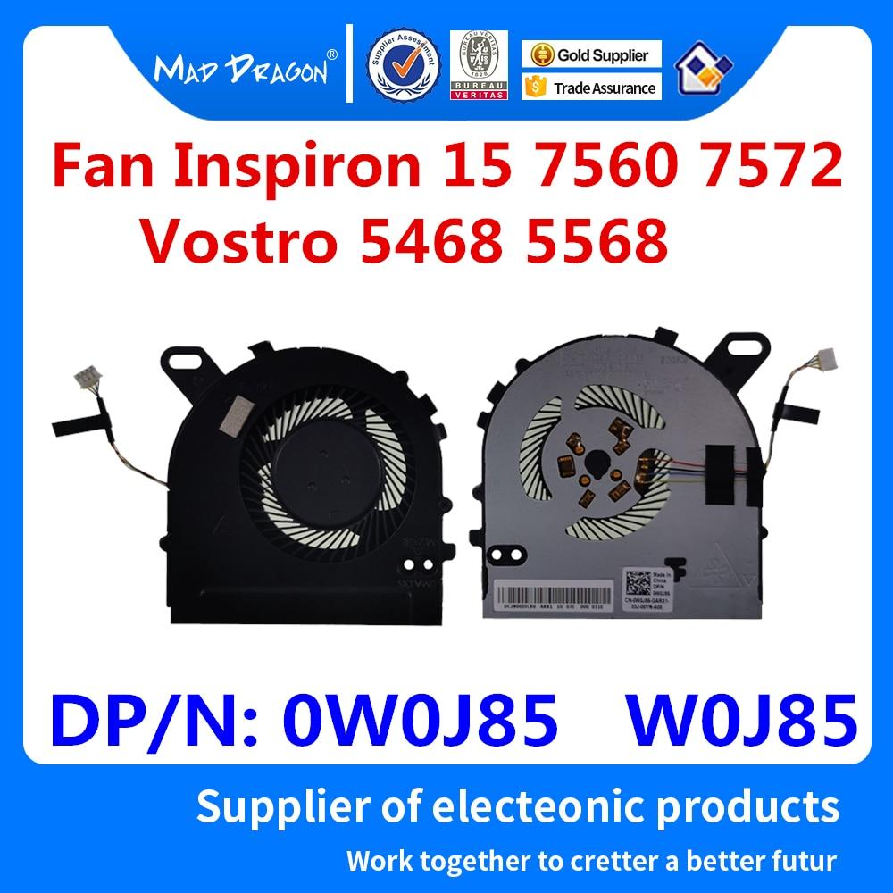 New Original CPU Cooling Fan Dell Inspiron 15 7560 7572 15-7560 Vostro 5468 5568 V5468 V5568 CPU Fan 0W0J85 W0J85 DC028000ICR0