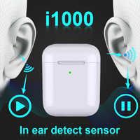 Nowy i1000 TWS kopię 2 1:1 V5.0 zestaw słuchawkowy Bluetooth bezprzewodowy zestaw słuchawkowy czujnik dźwięku zestaw słuchawkowy 6D subwoofer pk i60 i80 i100 i200 i500 tws