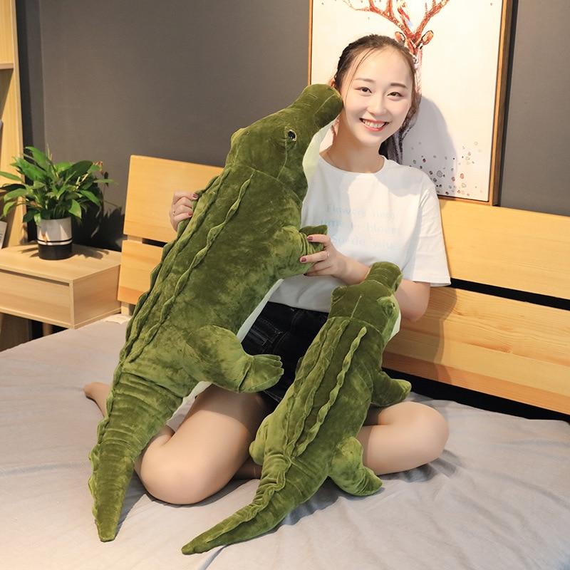 90/120cm Stuffed Animal Real Life Alligator Plush Toy Simulation Crocodile Dolls Kawaii Ceative Pillow For Children Xmas Gifts