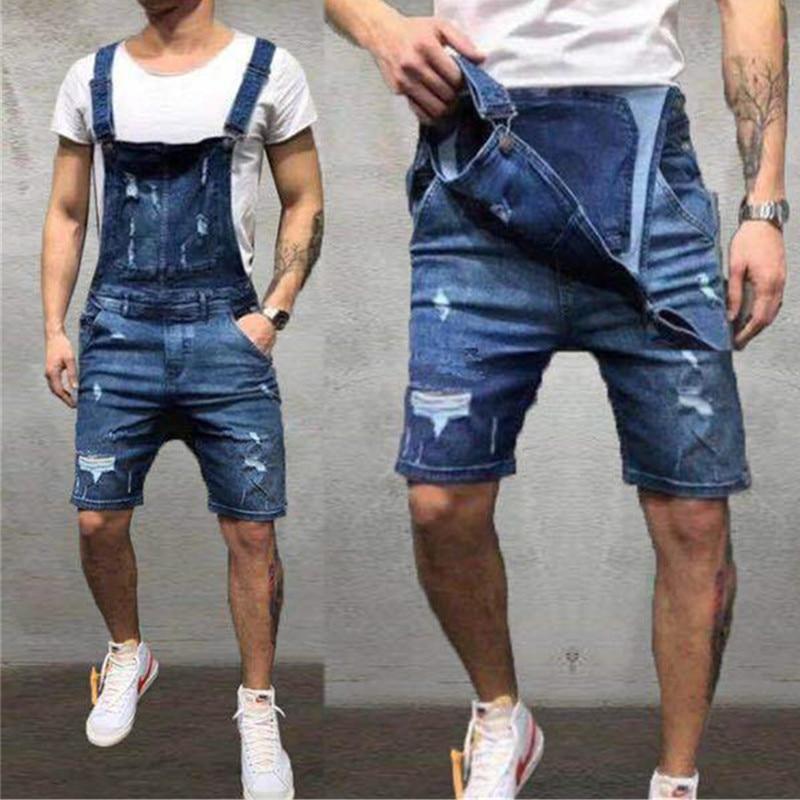 Denim Overalls Hole Slim Men's Trousers Men's Feet Pants British Style Suspenders Jeans And Men's Trousers