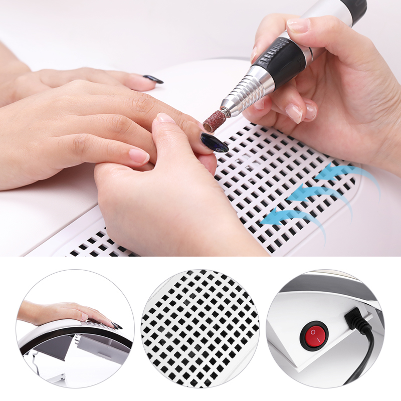 40W Powerful Nail Dust Suction Collector Vacuum Cleaner Professional  Machine With 2 Dust Bag Nail Art Salon Equipment