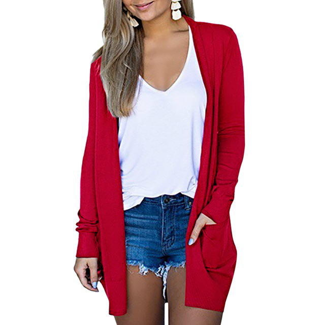 Solid Women Cardigans Long Sleeve Loose Mid Length Knittwear Casual Sweater Cardigan Female Thin Knitted Coat Cardigan Women