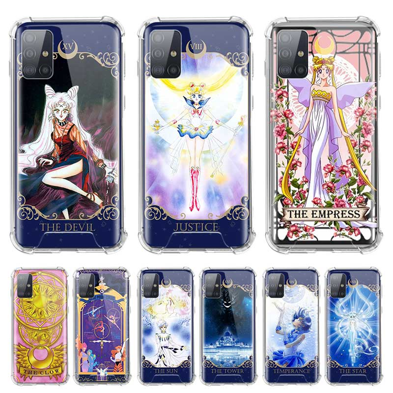 Soft Cover For Samsung Galaxy A71 A51 5G M51 M31 A41 A31 A21 A01 A21s Fall Proof Airbag Phone Cases Card Sailor Moon