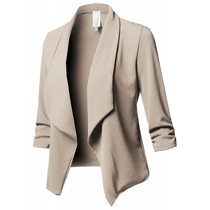 Women Blazer Jackets Female Retro Suits Coat Feminino OL Blazers Outerwear Plus Size Open Front Short Cardigan Plus Size S 5XL-in Blazers from Women's Clothing