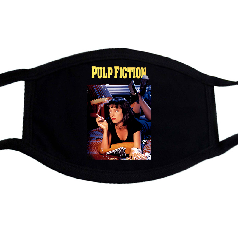 Pulp Fiction Vintage Print Face Masks Windproof Black Winter Keep Warm Hip Hop Mouth-Muffle Mask Unisex Washable Dust Proof Mask