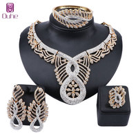 Women Luxury African Beads Jewelry Set Full Rhinestone Necklace Earring Ring Bangle Wedding Party Jewellery Set