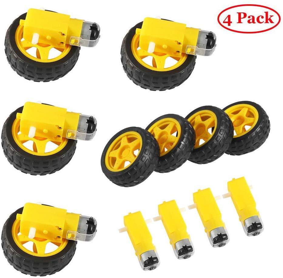 Электродвигатель постоянного тока с пластиковым игрушечным колесом для автомобильных шин 3-6 в, двойной вал, редуктор, магнитный двигатель