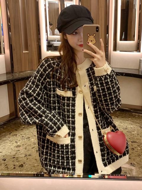 [EWQ] Autumn 2020 New Sweater Coat Retro Shirt Check Long Sleeve Single Breasted Plaid Loose Knit Cardigan Tide Ladies QB321 2