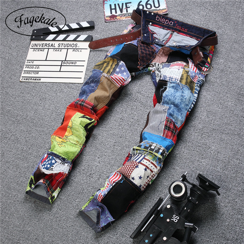 2020 new casual fashion stitching men's jeans European and American style colorful fabric tide brand Slim jeans multi color
