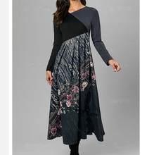 2020 O neck women winter Tshirt dress Long sleeve Fashion dress female casual Chic printing ladies work midi autumn dress