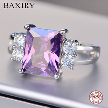 2019 New Ruby Ring Real 925 Sterling Silver Rings For Women Gemstones Natural Jewelry Engagement Blue Topaz