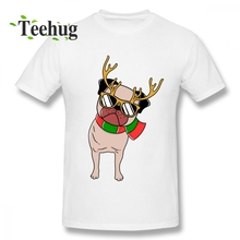 Custom Christmas Pug T shirt Gift Homme Tee Shirt For Men Popular Top Design Boy Round Neck T-Shirt