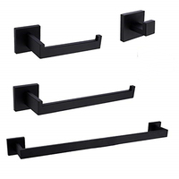Matte Black Bathroom Accessory Set Robe Hook Towel Bar Toilet Roll Paper Holder Towel Ring Wall Mounted SUS304 Stainless Steel
