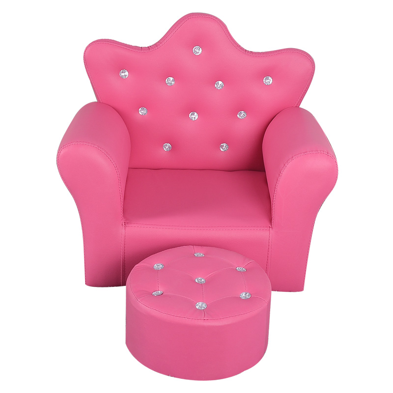 Korean Children's Furniture Chair Quality Crown Combination Sofa With Stool Children Seat Sofa Set  58x40.5x48cm 4 Colors