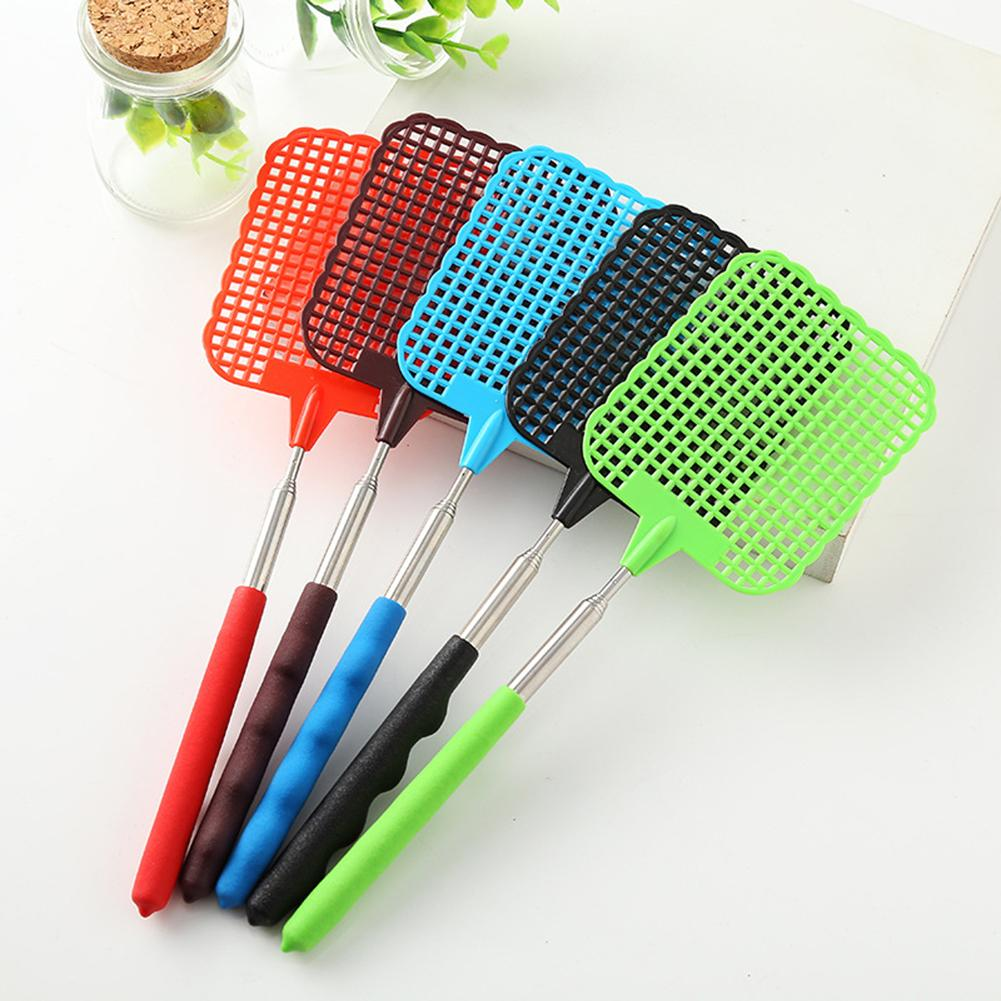 5PCS Retractable Plastic Fly Swatter Summer Supplies Mosquito Killer Home Daily Fly Kill Artifact Fly Swatter Durable Mix Color in Fly Swatters from Home Garden