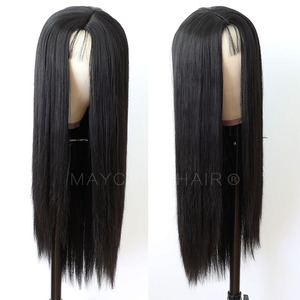 Image 4 - Maycaur Long Straight Black/Pink Synthetic Hair Wigs With Natural Hairline Heat Resistant Straight Wigs for Women
