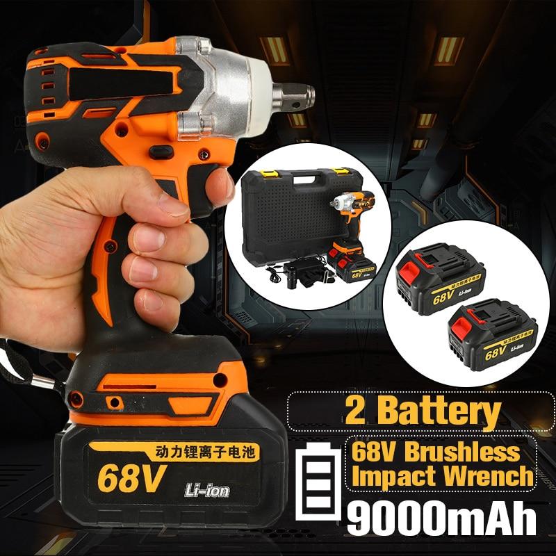 68V 9000 мА/ч, 320N. m аккумуляторная литий ионный аккумулятор электрический ударный гайковерт бесщеточный двигатель 2 Батарея с заряда в Мощность инструменты
