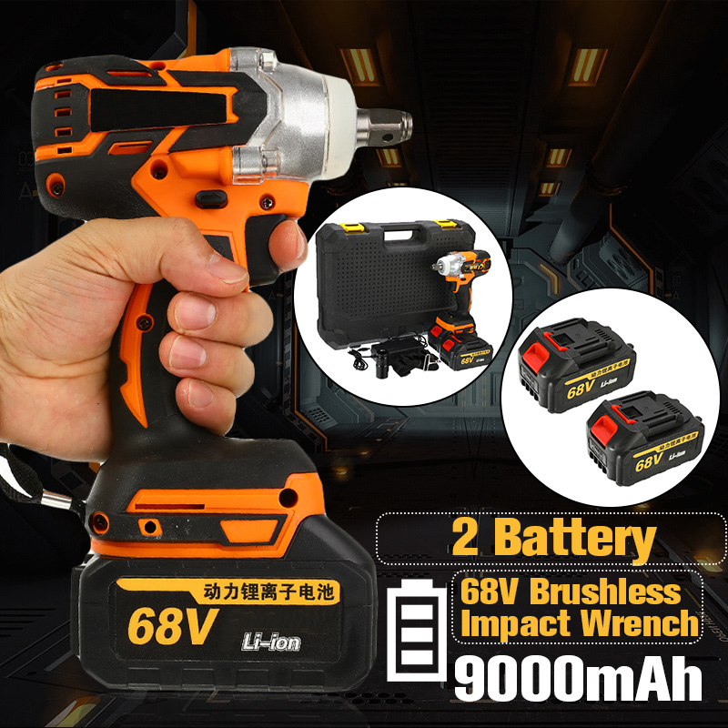 68V 9000mAh 520N.m Cordless Lithium-Ion Electric Impact Wrench Brushless Motor 2 Battery With Charge Power Tools