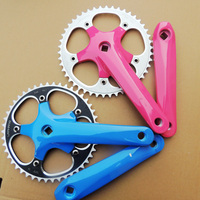 Only Olive Chain 46T 170mm CNC Alloy Aluminum Fix Gear Bike Crankset Colorful Thick Bicycle Chain Wheel