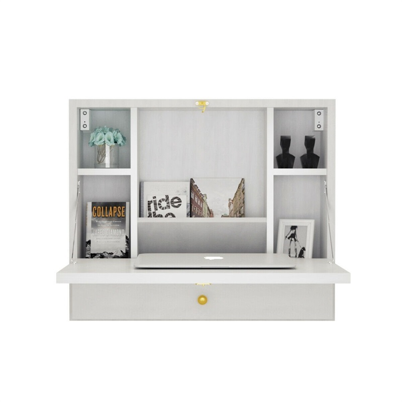 Wall Mounted Folding Laptop Desk Hideaway Storage With Drawer Multi-function Computer Desks Foldable Home Furniture HW60360