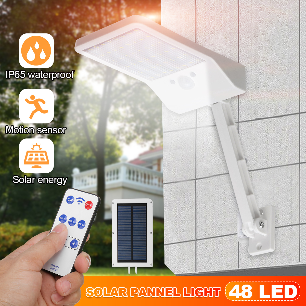 LED Solar Light PIR Motion Sensor With Solar Pannels Outdoor Garden Dimmable Wall Street Light Path Security Lamp Remote Control