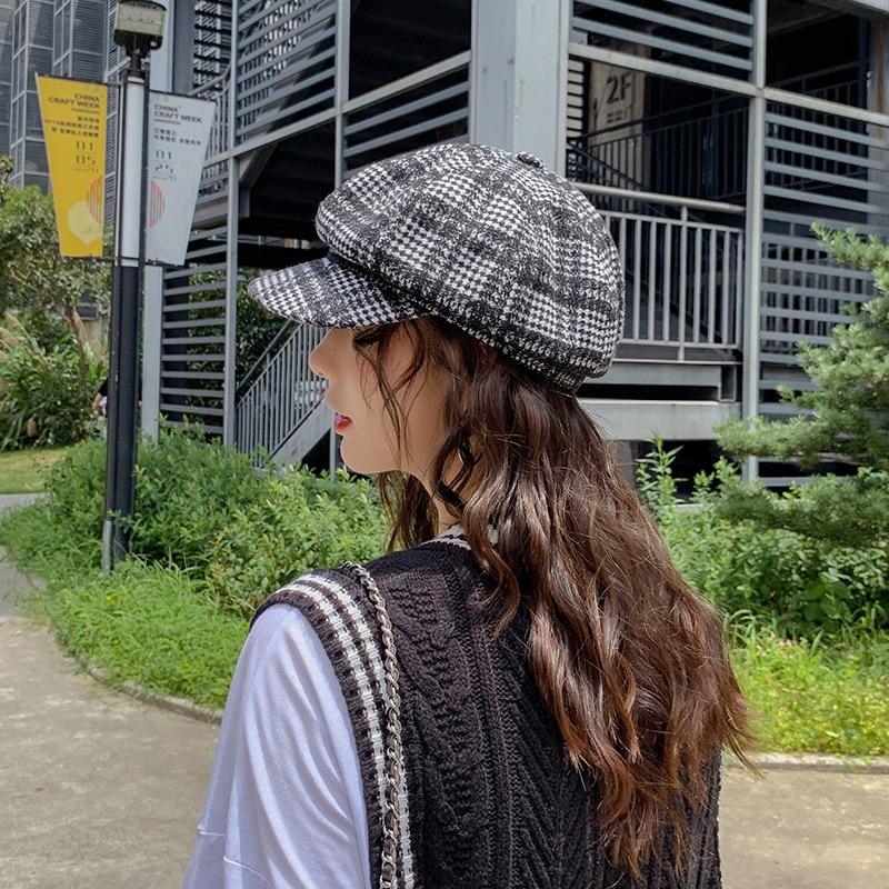 Берет в стиле винтаж шапки для женщин зима осень газетные шапки женские британский стиль плед хлопок восьмиугольная шапка береты шапка сохраняет тепло