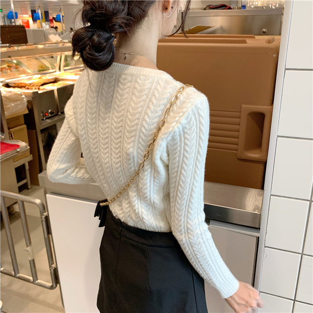 Ailegogo New 2020 Autumn Winter Women Warm Sweaters Knitting Pullovers Full Sleeve Stylish Slim Fit Top Clothing 3