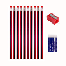 Drawing HB Wooden Lead Pencil 12pcs Painting Pencils/Sharpener/Eraser For School Office Student Writing Graphite Stationery