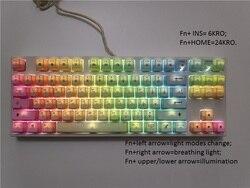 87 klawiatura mechaniczna rainbow nasadki na klawisze z pbt kailh mx brązowy niebieski TKL PS2 klawiatura do gier biały podświetlany