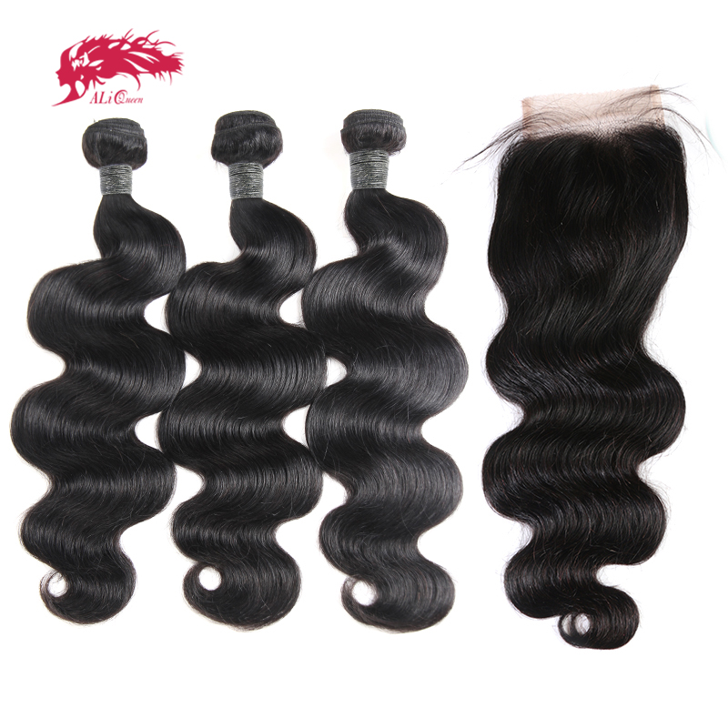 Ali Queen Hair 3/4Pcs Peruvian Body Wave Remy Hair Bundles With Closure Free Part Bundles With 4x4/5x5/13x4 Swiss Lace Closure