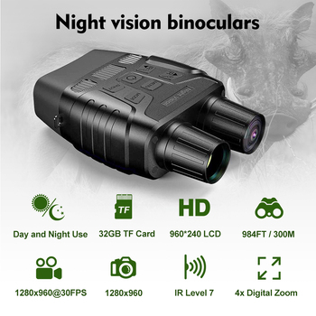 Super Quality Night Vision Binoculars for Hunting Traveling Fishing IR Monocular Camera Security Telescope 300M 32G HD Binocular 3