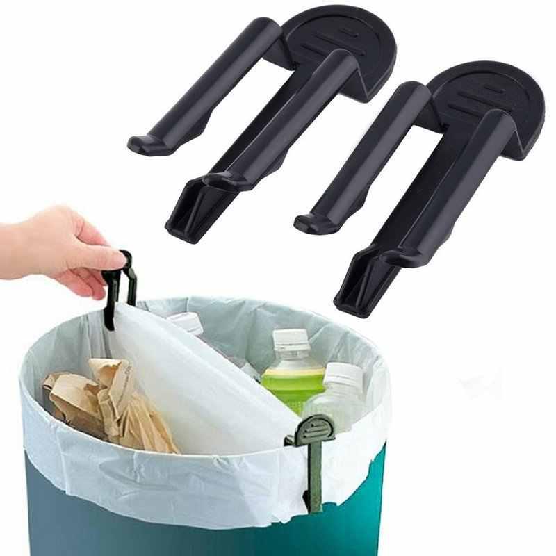 2 قطعة حاوية القمامة كيس النفايات الإبداعية كليب الاحتفاظ المشبك الأسود صغيرة العملي كيس النفايات حامل اكسسوارات ashcan