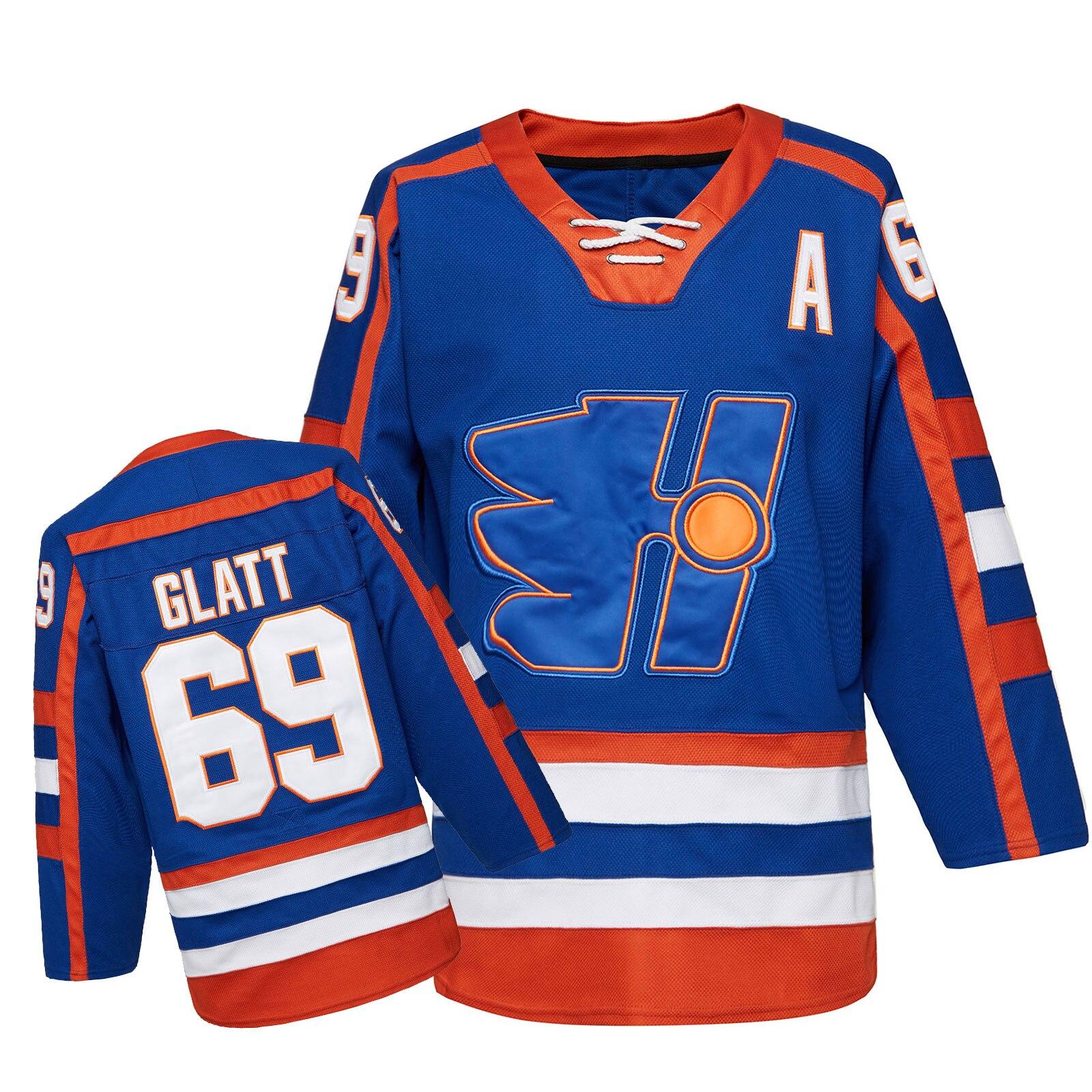 HAN DUCK Doug The Thug #69 GLATT Halifax Highlanders movie Embroidery Stitched Ice Hockey Jersey street shirt