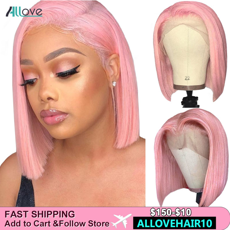 Allove Pink Wig Straight Bob Lace Front Wigs Green Ginger Grey Colored Human Hair Wigs Peruvian 613 Lace Front Wig Ombre Bob Wig image