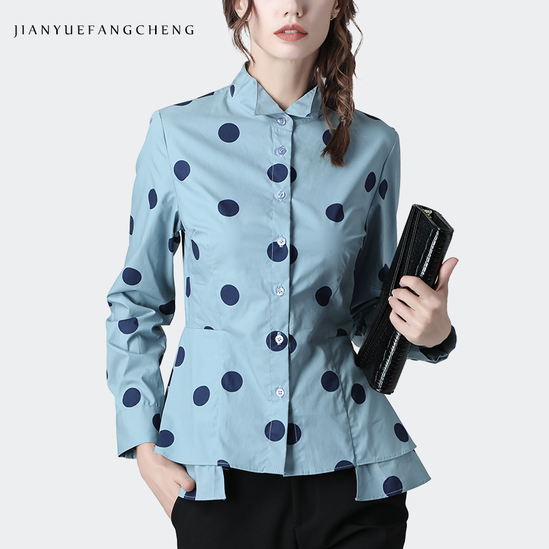 100% Cotton Women' <font><b>Shirt</b></font> <font><b>Blue</b></font> <font><b>Polka</b></font> <font><b>Dots</b></font> Top Turn-down Collar Elegant Slim Korean Draped Office Ladies Peplum Tops And <font><b>Shirts</b></font> image