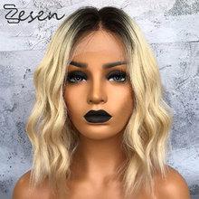 Zesen 13*4 perucas frontal, cabelo sintético ombré, cor loira natural, ondas curtas, peruca de renda para mulheres mulheres