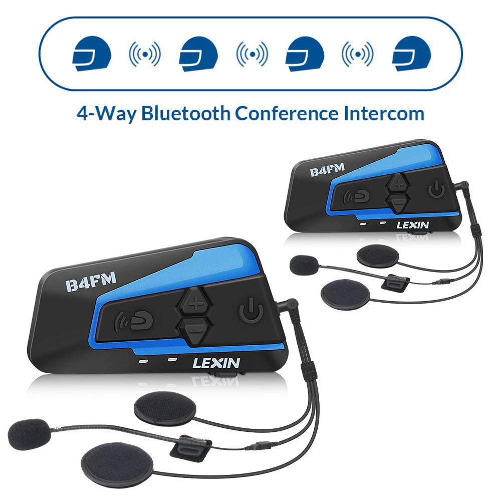 2 PCS Lexin 4 Motobike Forma, Motos Capacete Bluetooth Intercom Headsets, fones de ouvido FM BT intercomunicador MP3 interfone
